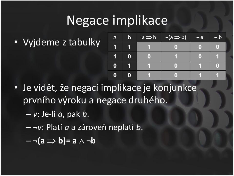 Negace implikace Vyjdeme z tabulky Je vidět, že negací implikace je konjunkce prvního výroku a negace druhého. – v: Je-li a, pak b. – ¬v: Platí a a zá