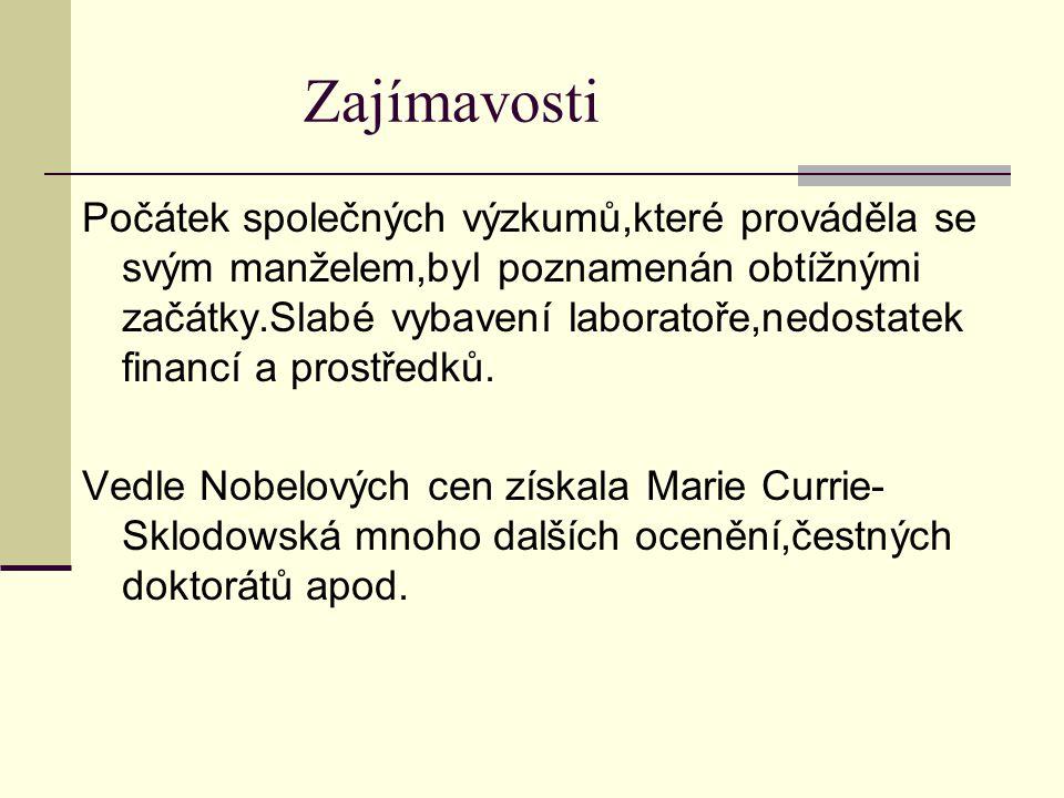 Smrt Marie Currie-Sklodowské Marie Currie-Sklodowská se věnovala celý život výzkumu radioaktivity.Bohužel to byla jedna z hlavních příčin její smrti.Marie Curie- Sklodowská umírá 4.července 1934 na chorobu vyvolanou účinky radioaktivního záření.