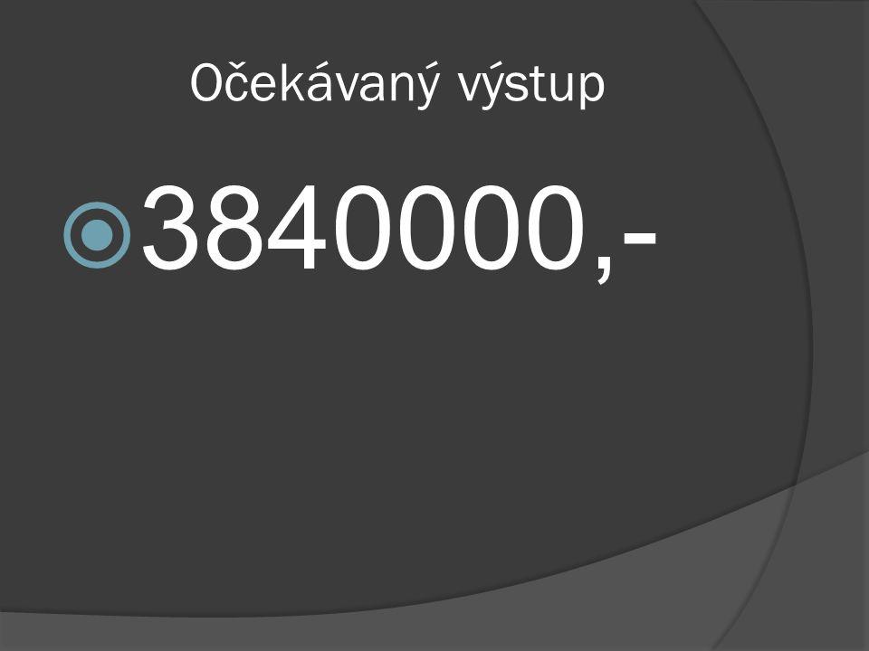 Očekávaný výstup  3840000,-
