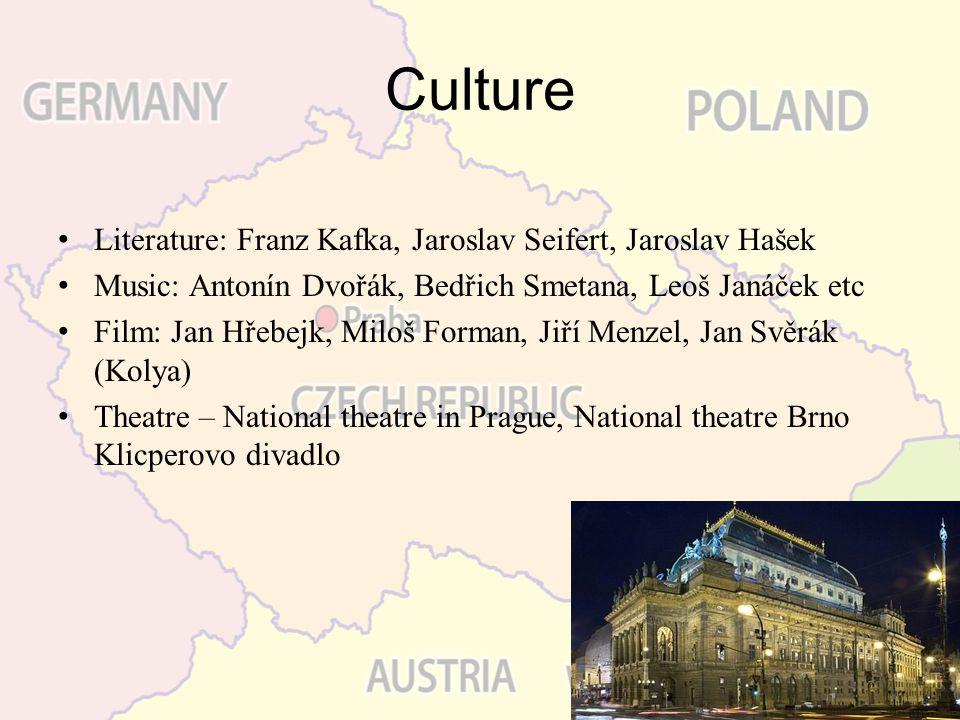 Culture Literature: Franz Kafka, Jaroslav Seifert, Jaroslav Hašek Music: Antonín Dvořák, Bedřich Smetana, Leoš Janáček etc Film: Jan Hřebejk, Miloš Fo