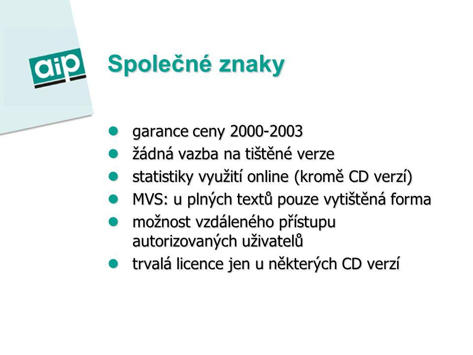 Společné znaky garance ceny 2000-2003 garance ceny 2000-2003 žádná vazba na tištěné verze žádná vazba na tištěné verze statistiky využití online (kromě CD verzí) statistiky využití online (kromě CD verzí) MVS: u plných textů pouze vytištěná forma MVS: u plných textů pouze vytištěná forma možnost vzdáleného přístupu autorizovaných uživatelů možnost vzdáleného přístupu autorizovaných uživatelů trvalá licence jen u některých CD verzí trvalá licence jen u některých CD verzí