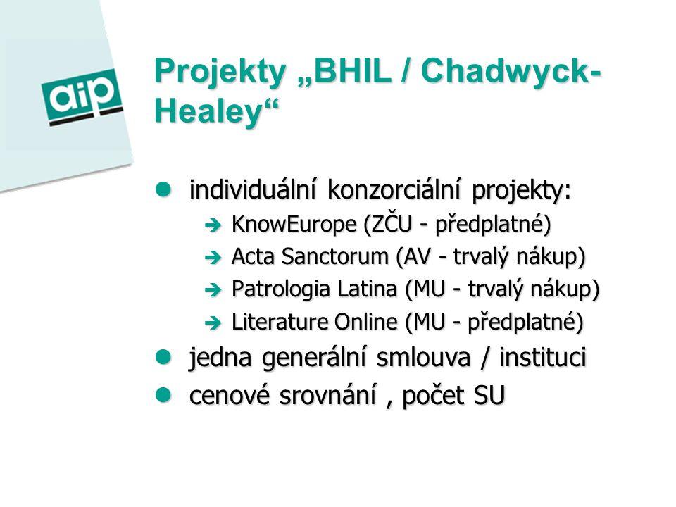 """Projekty """"BHIL / Chadwyck- Healey individuální konzorciální projekty: individuální konzorciální projekty:  KnowEurope (ZČU - předplatné)  Acta Sanctorum (AV - trvalý nákup)  Patrologia Latina (MU - trvalý nákup)  Literature Online (MU - předplatné) jedna generální smlouva / instituci jedna generální smlouva / instituci cenové srovnání, počet SU cenové srovnání, počet SU"""
