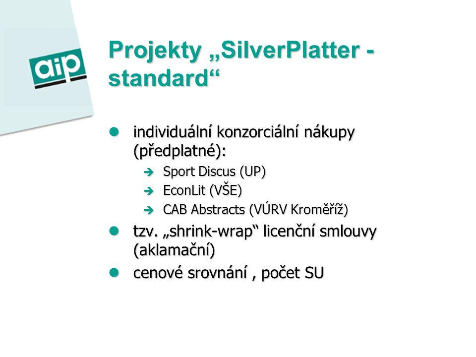 """Projekty """"SilverPlatter - standard individuální konzorciální nákupy (předplatné): individuální konzorciální nákupy (předplatné):  Sport Discus (UP)  EconLit (VŠE)  CAB Abstracts (VÚRV Kroměříž) tzv."""