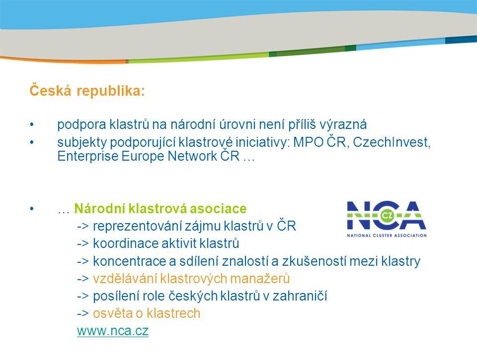 Title of the presentation | Date |‹#› Česká republika: podpora klastrů na národní úrovni není příliš výrazná subjekty podporující klastrové iniciativy