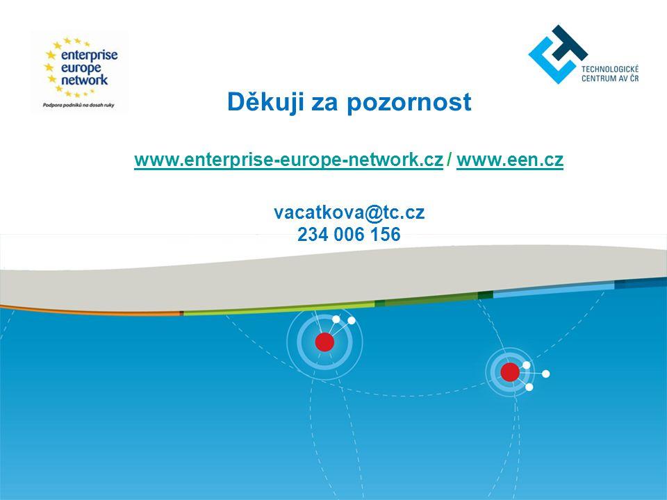 Děkuji za pozornost www.enterprise-europe-network.cz / www.een.cz vacatkova@tc.cz 234 006 156 www.enterprise-europe-network.czwww.een.cz