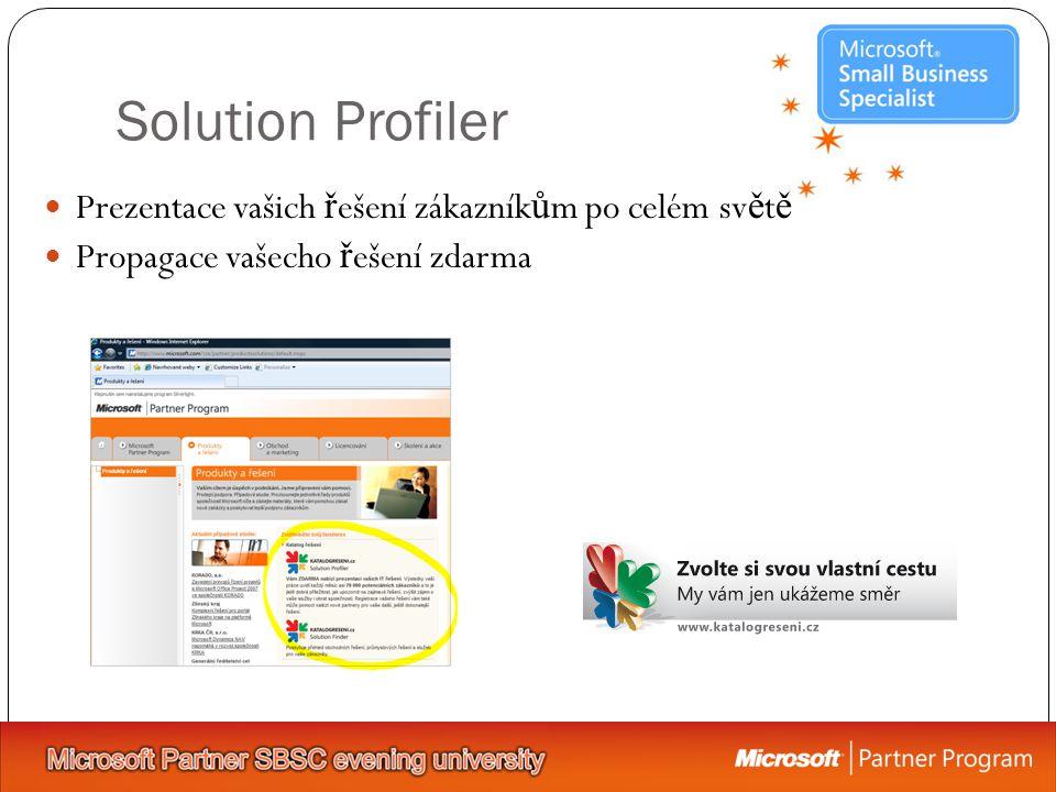 Solution Profiler Prezentace vašich ř ešení zákazník ů m po celém sv ě t ě Propagace vašecho ř ešení zdarma