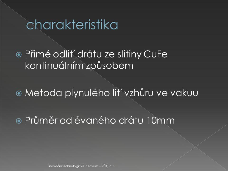  Distribuce železa v mědi v odlitku jemná a rovnoměrná  Grafitový vodou chlazený krystalizátor pro plynulé odlévání a odtahovací zařízení vyvinuto ve společnosti VÚK Panenské Břežany, a.