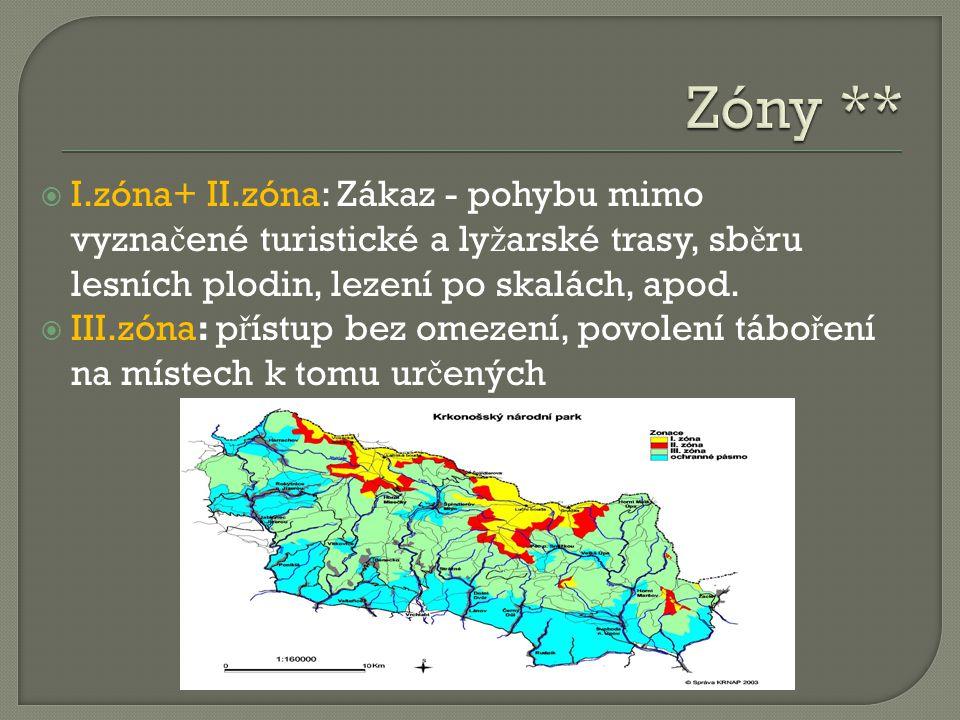  I.zóna+ II.zóna: Zákaz - pohybu mimo vyzna č ené turistické a ly ž arské trasy, sb ě ru lesních plodin, lezení po skalách, apod.  III.zóna: p ř íst