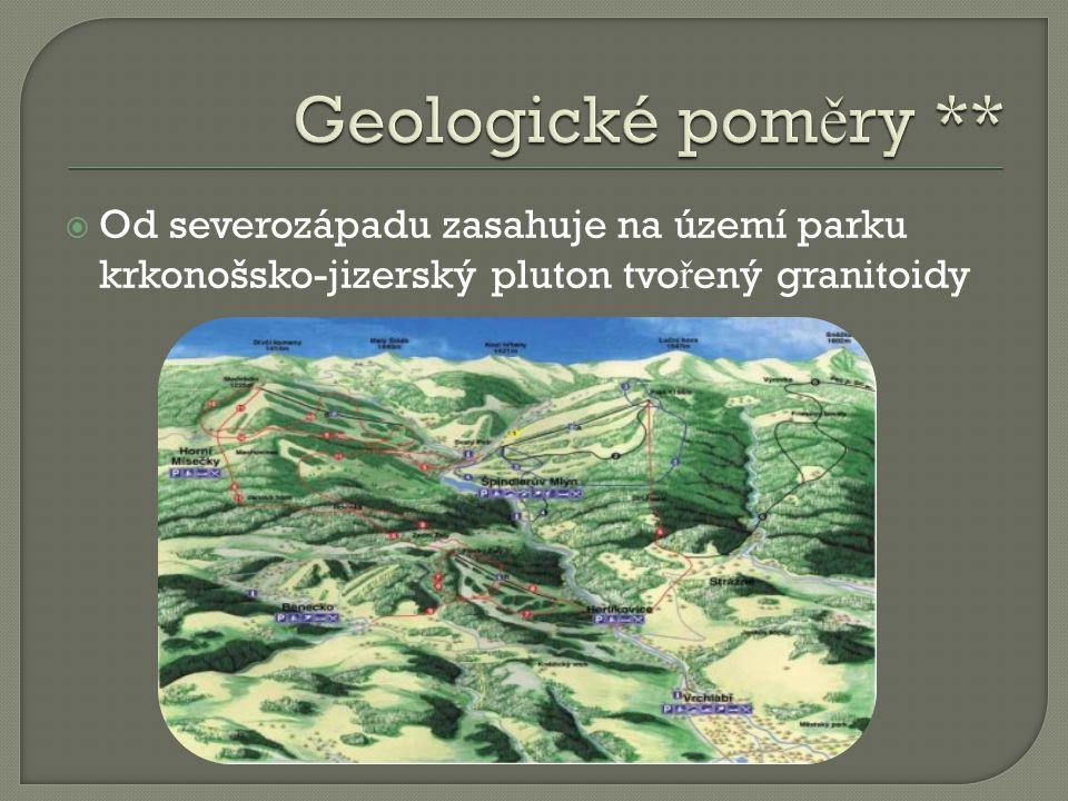  Od severozápadu zasahuje na území parku krkonošsko-jizerský pluton tvo ř ený granitoidy