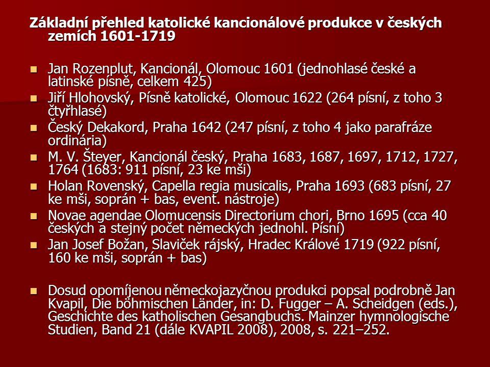 Základní přehled katolické kancionálové produkce v českých zemích 1601-1719 Jan Rozenplut, Kancionál, Olomouc 1601 (jednohlasé české a latinské písně,