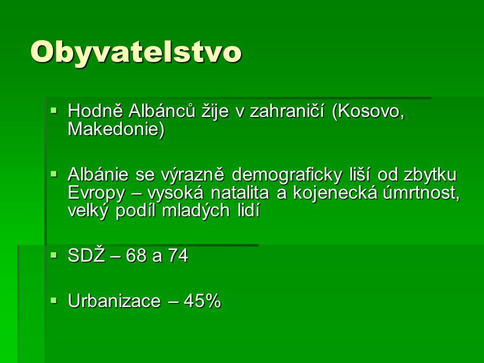 Obyvatelstvo  Hodně Albánců žije v zahraničí (Kosovo, Makedonie)  Albánie se výrazně demograficky liší od zbytku Evropy – vysoká natalita a kojeneck
