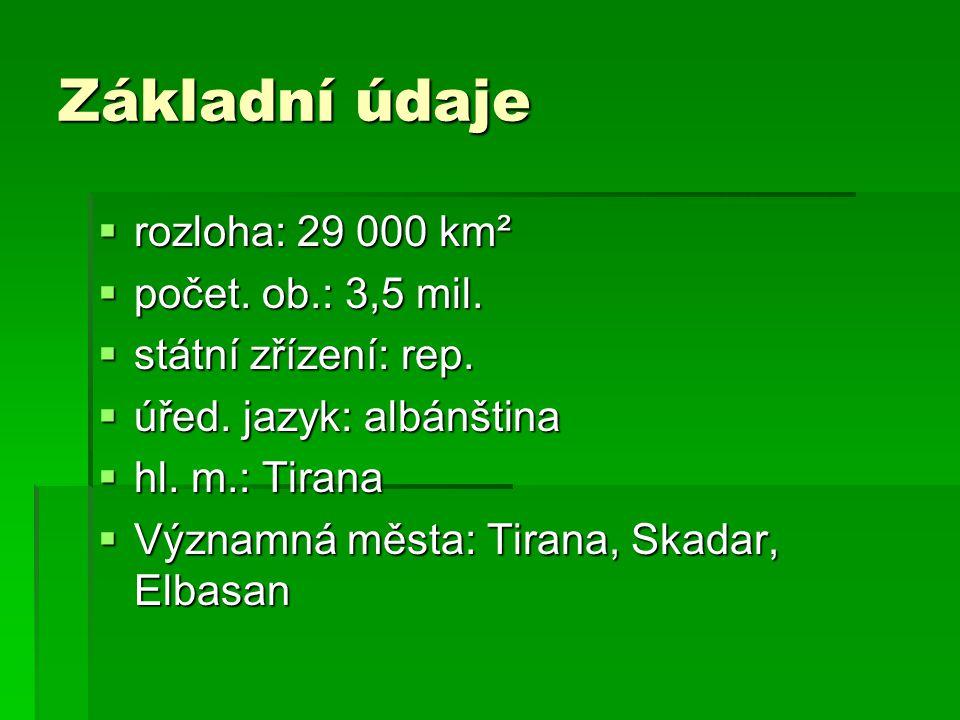 Základní údaje  rozloha: 29 000 km²  počet. ob.: 3,5 mil.  státní zřízení: rep.  úřed. jazyk: albánština  hl. m.: Tirana  Významná města: Tirana