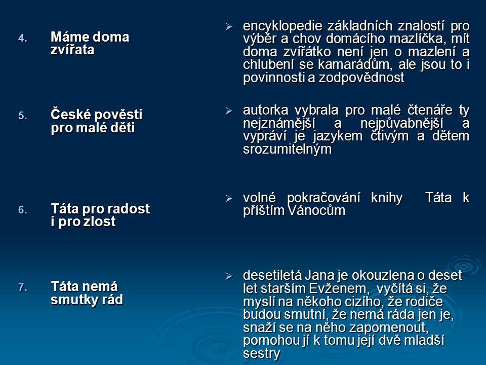 4. Máme doma zvířata 5. České pověsti pro malé děti 6.