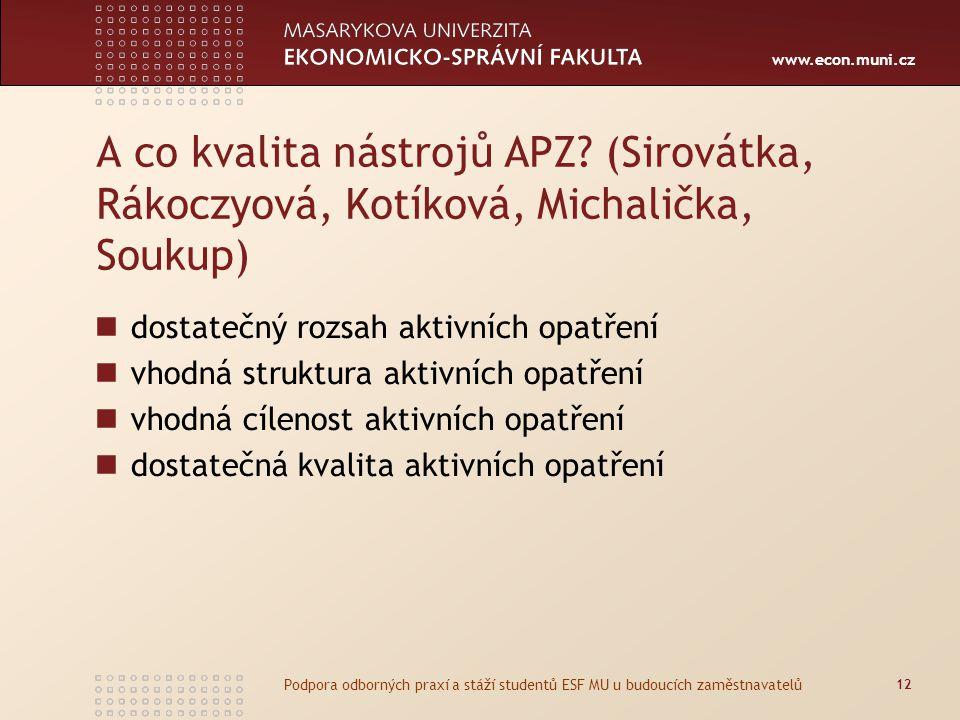 www.econ.muni.cz A co kvalita nástrojů APZ? (Sirovátka, Rákoczyová, Kotíková, Michalička, Soukup) dostatečný rozsah aktivních opatření vhodná struktur