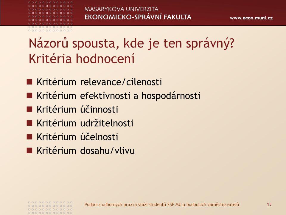 www.econ.muni.cz Názorů spousta, kde je ten správný? Kritéria hodnocení Kritérium relevance/cílenosti Kritérium efektivnosti a hospodárnosti Kritérium