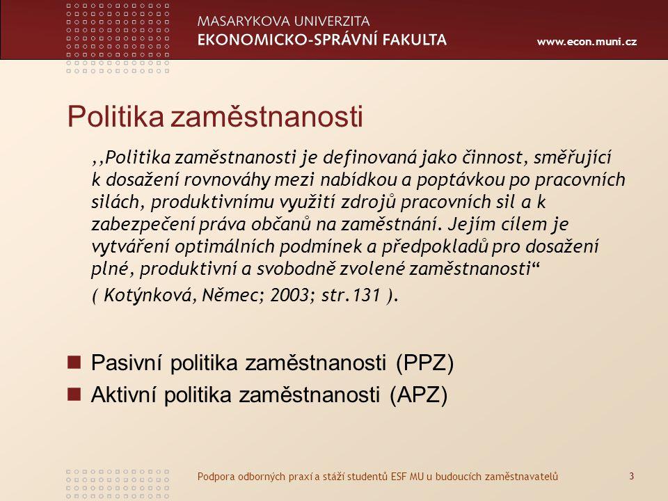 www.econ.muni.cz Politika zaměstnanosti,,Politika zaměstnanosti je definovaná jako činnost, směřující k dosažení rovnováhy mezi nabídkou a poptávkou po pracovních silách, produktivnímu využití zdrojů pracovních sil a k zabezpečení práva občanů na zaměstnání.