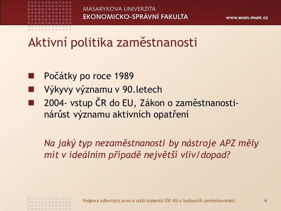 www.econ.muni.cz Aktivní politika zaměstnanosti Počátky po roce 1989 Výkyvy významu v 90.letech 2004- vstup ČR do EU, Zákon o zaměstnanosti- nárůst významu aktivních opatření Na jaký typ nezaměstnanosti by nástroje APZ měly mít v ideálním případě největší vliv/dopad.