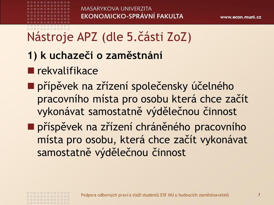 www.econ.muni.cz Nástroje APZ (dle 5.části ZoZ) 1) k uchazeči o zaměstnání rekvalifikace přípěvek na zřízení společensky účelného pracovního místa pro