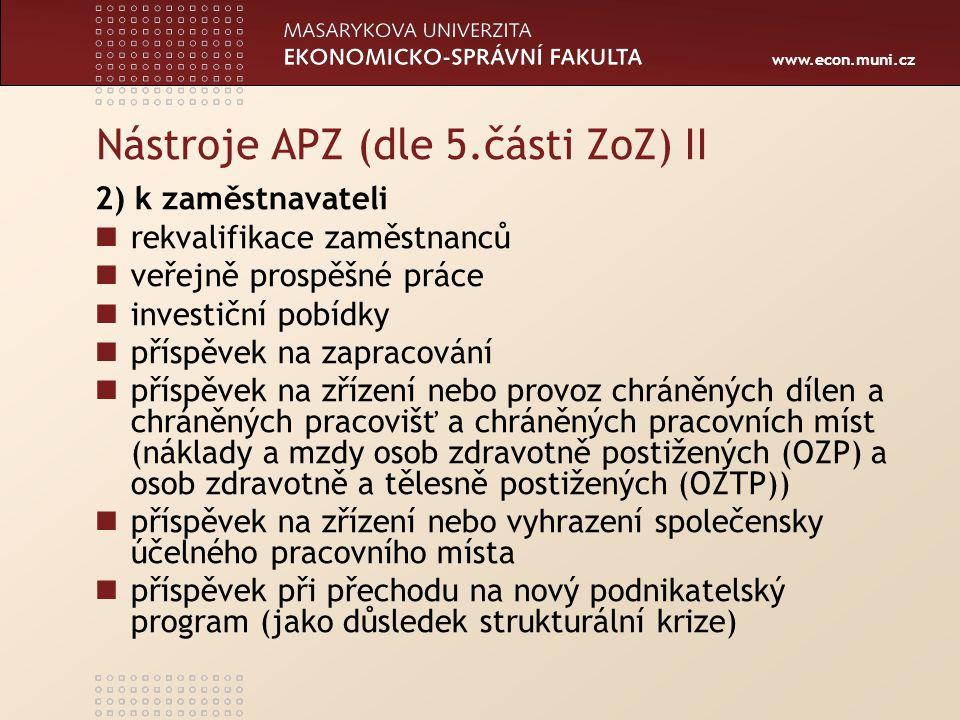 www.econ.muni.cz Nástroje APZ (dle 5.části ZoZ) II 2) k zaměstnavateli rekvalifikace zaměstnanců veřejně prospěšné práce investiční pobídky příspěvek