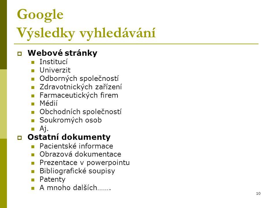 10 Google Výsledky vyhledávání  Webové stránky Institucí Univerzit Odborných společností Zdravotnických zařízení Farmaceutických firem Médií Obchodní