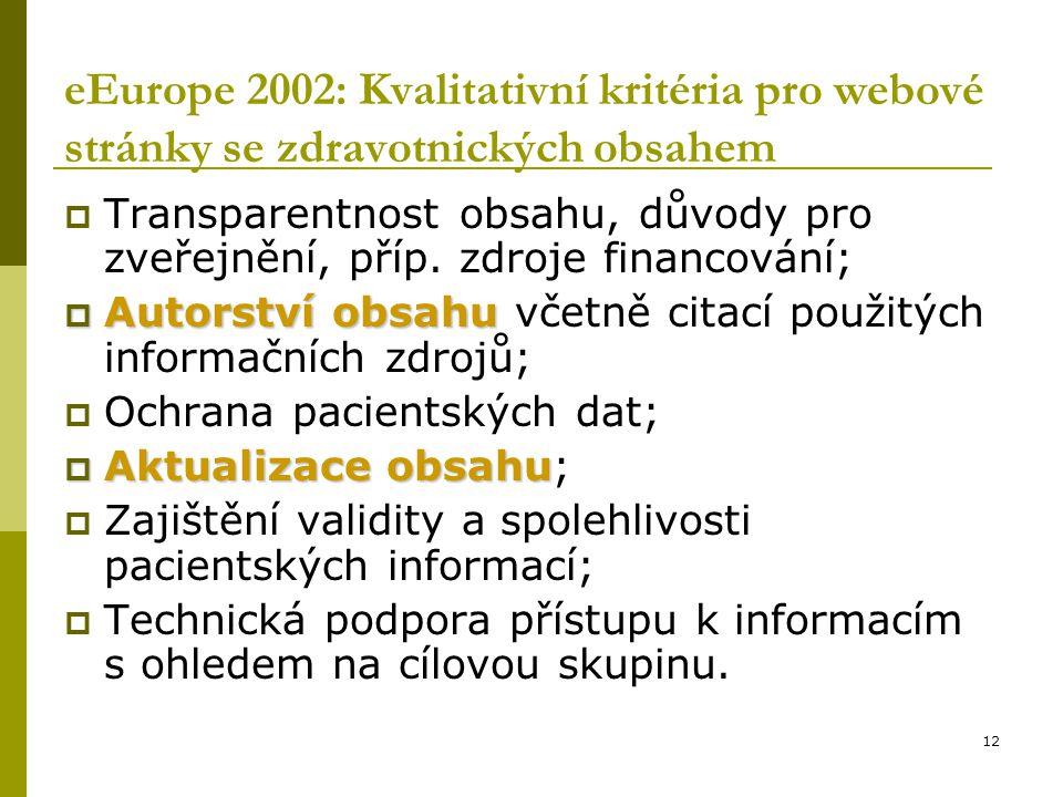 12 eEurope 2002: Kvalitativní kritéria pro webové stránky se zdravotnických obsahem  Transparentnost obsahu, důvody pro zveřejnění, příp. zdroje fina