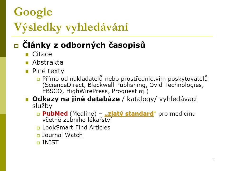 9 Google Výsledky vyhledávání  Články z odborných časopisů Citace Abstrakta Plné texty  Přímo od nakladatelů nebo prostřednictvím poskytovatelů (Sci