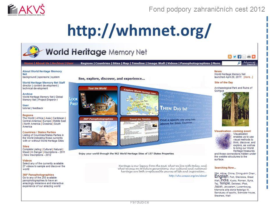 Fond podpory zahraničních cest 2012 http://whmnet.org/ Bibliotheca academica 2012, 26.–27.