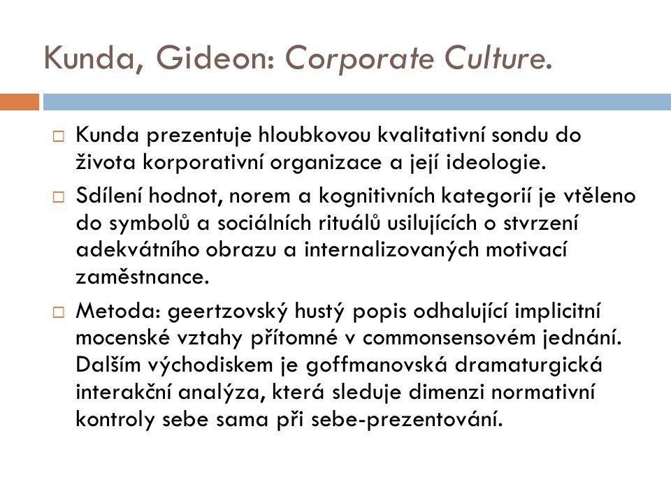 Kunda, Gideon: Corporate Culture.  Kunda prezentuje hloubkovou kvalitativní sondu do života korporativní organizace a její ideologie.  Sdílení hodno