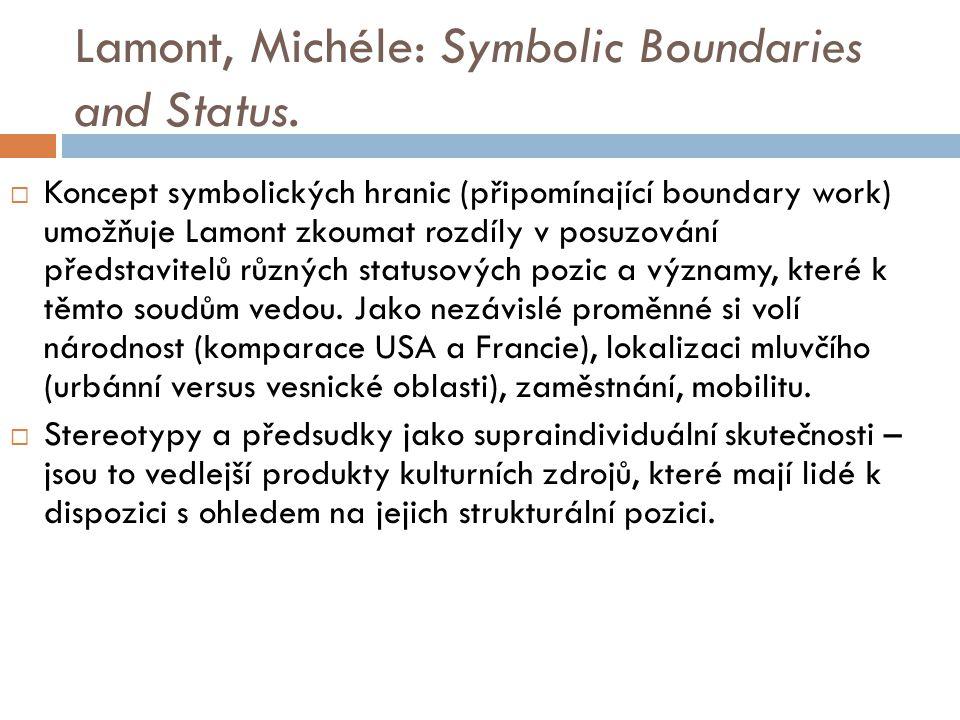 Lamont, Michéle: Symbolic Boundaries and Status.  Koncept symbolických hranic (připomínající boundary work) umožňuje Lamont zkoumat rozdíly v posuzov