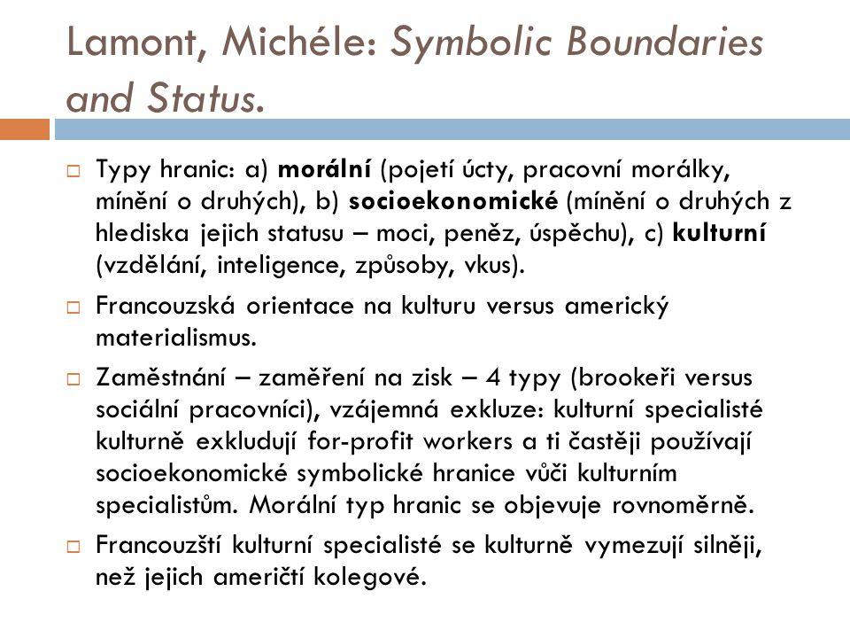 Lamont, Michéle: Symbolic Boundaries and Status.  Typy hranic: a) morální (pojetí úcty, pracovní morálky, mínění o druhých), b) socioekonomické (míně
