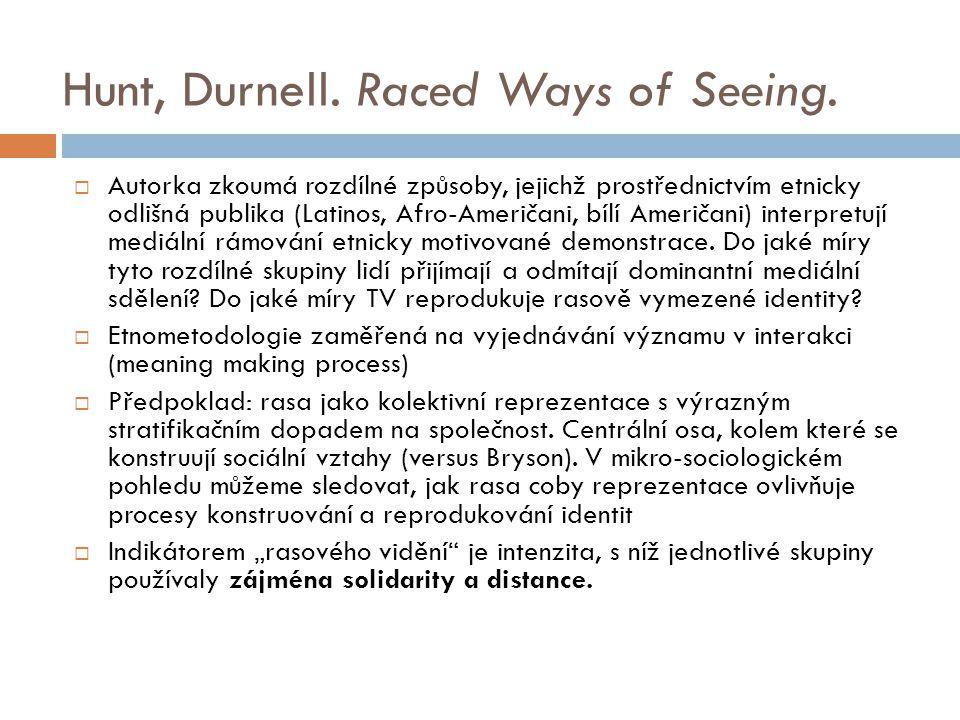 Hunt, Durnell. Raced Ways of Seeing.  Autorka zkoumá rozdílné způsoby, jejichž prostřednictvím etnicky odlišná publika (Latinos, Afro-Američani, bílí