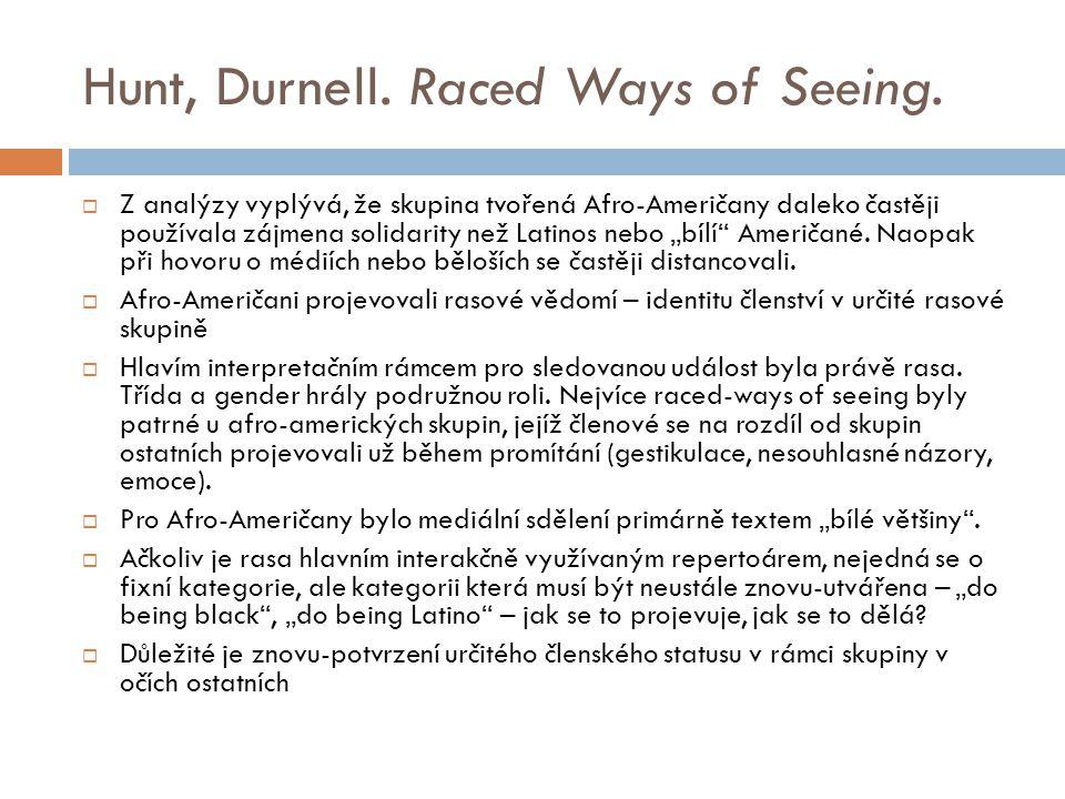Hunt, Durnell. Raced Ways of Seeing.  Z analýzy vyplývá, že skupina tvořená Afro-Američany daleko častěji používala zájmena solidarity než Latinos ne