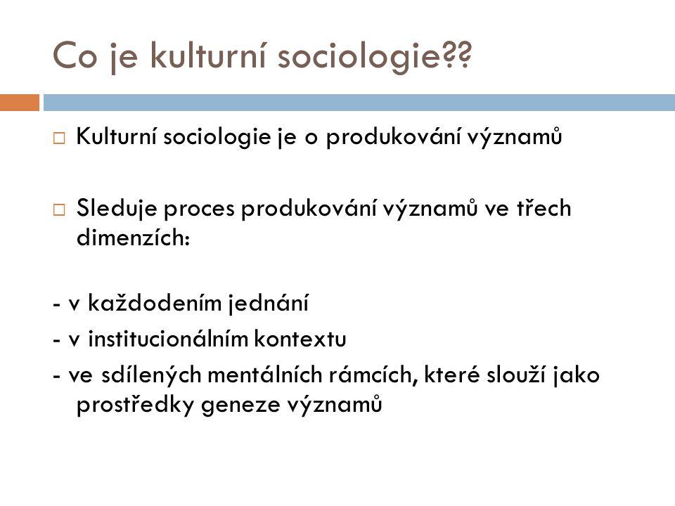 Co je kulturní sociologie??  Kulturní sociologie je o produkování významů  Sleduje proces produkování významů ve třech dimenzích: - v každodením jed
