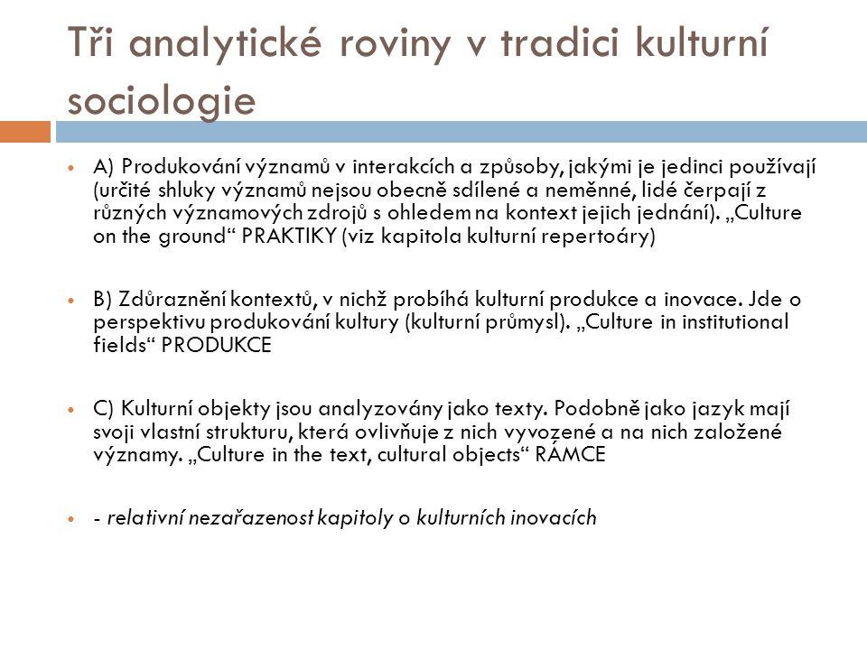 Tři analytické roviny v tradici kulturní sociologie A) Produkování významů v interakcích a způsoby, jakými je jedinci používají (určité shluky významů nejsou obecně sdílené a neměnné, lidé čerpají z různých významových zdrojů s ohledem na kontext jejich jednání).