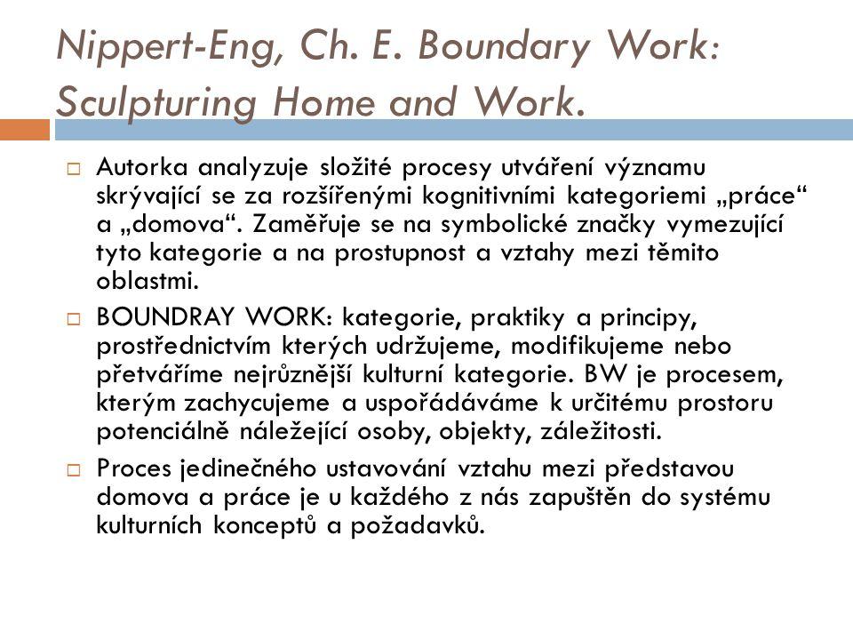Nippert-Eng, Ch. E. Boundary Work: Sculpturing Home and Work.  Autorka analyzuje složité procesy utváření významu skrývající se za rozšířenými kognit