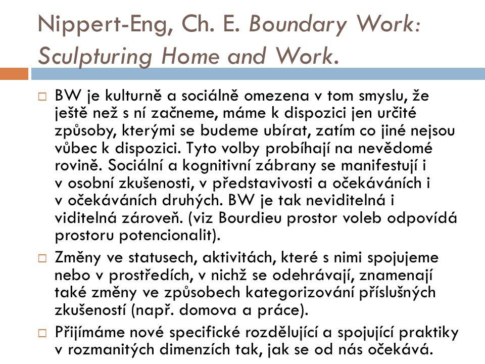 Nippert-Eng, Ch. E. Boundary Work: Sculpturing Home and Work.  BW je kulturně a sociálně omezena v tom smyslu, že ještě než s ní začneme, máme k disp