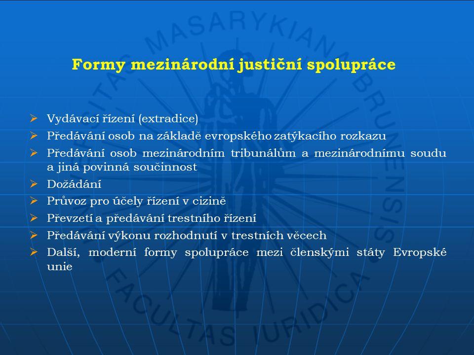  Vydávací řízení (extradice)  Předávání osob na základě evropského zatýkacího rozkazu  Předávání osob mezinárodním tribunálům a mezinárodnímu soudu a jiná povinná součinnost  Dožádání  Průvoz pro účely řízení v cizině  Převzetí a předávání trestního řízení  Předávání výkonu rozhodnutí v trestních věcech  Další, moderní formy spolupráce mezi členskými státy Evropské unie Formy mezinárodní justiční spolupráce