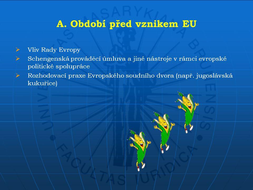 A. Období před vznikem EU  Vliv Rady Evropy  Schengenská prováděcí úmluva a jiné nástroje v rámci evropské politické spolupráce  Rozhodovací praxe