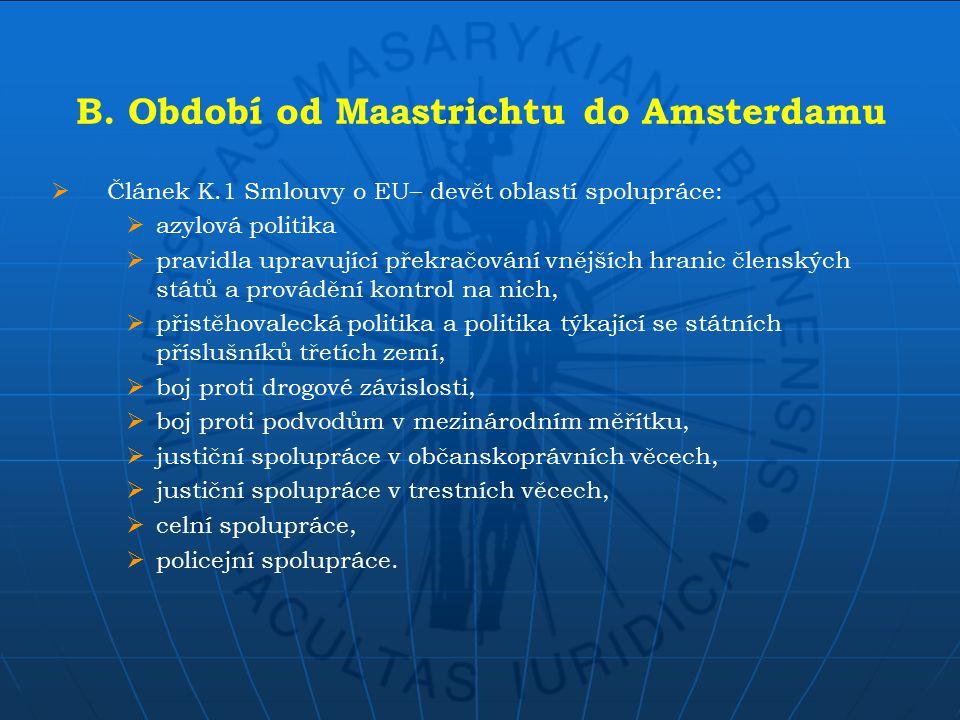 B. Období od Maastrichtu do Amsterdamu  Článek K.1 Smlouvy o EU– devět oblastí spolupráce:  azylová politika  pravidla upravující překračování vněj