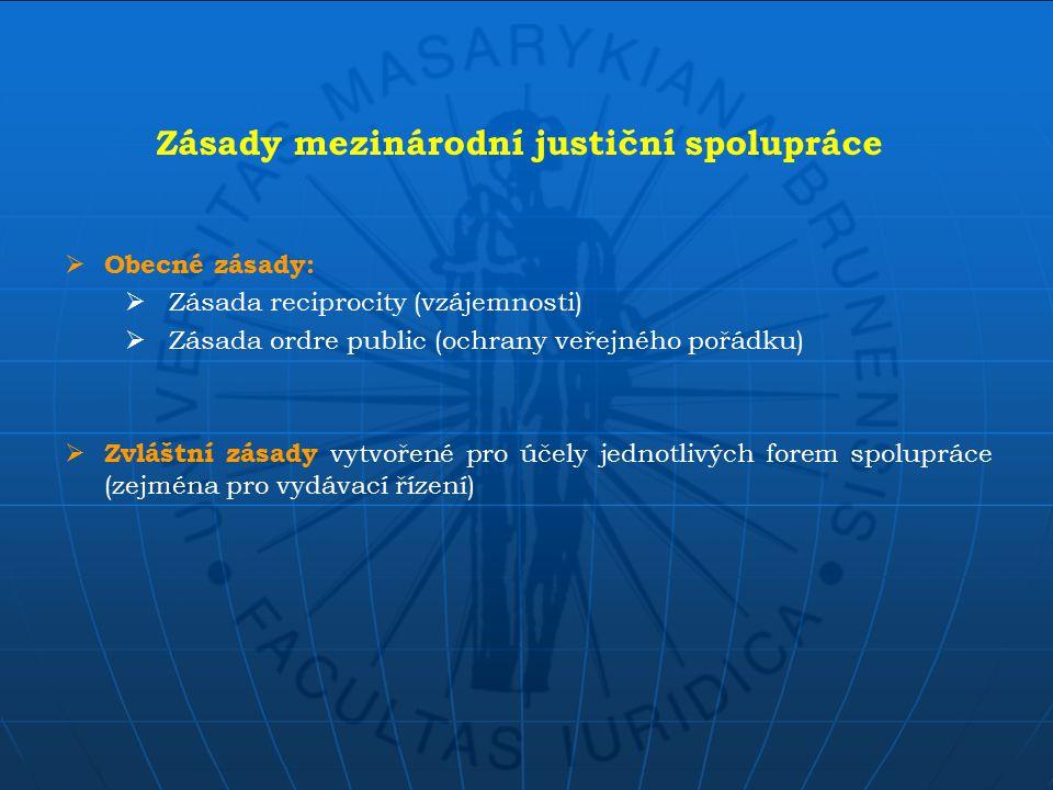  Na úrovni diplomatické a konzulární  Mezi ministerstvy a jinými ústředními státními orgány  Přímá spolupráce mezi justičními orgány Podoby mezinárodní justiční spolupráce