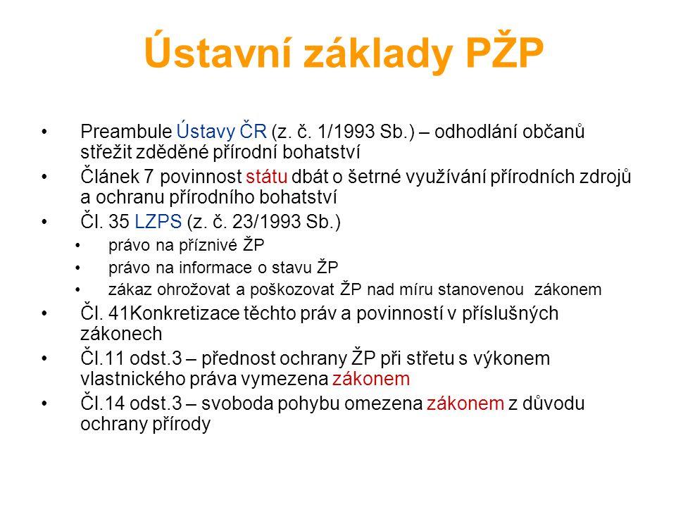 Ústavní základy PŽP Preambule Ústavy ČR (z. č. 1/1993 Sb.) – odhodlání občanů střežit zděděné přírodní bohatství Článek 7 povinnost státu dbát o šetrn
