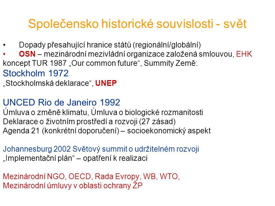 """Společensko historické souvislosti - ES SES = Smlouva o založení Evropského společenství ekologická politika integrována do ostatních –Společná zemědělská politika –Společná politika v oblasti dopravy –Energetická politika –Společná obchodní politika –Regionální politika (Kohezní fond) akční programy od 1973 2002 Šestý akční program """"Environment 2010: Our Future, Our Choice –změna klimatického systému Země –biodiverzita –životní prostředí a lidské zdraví –přírodní zdroje a odpadové hospodářství Evropské právo životního prostředí"""