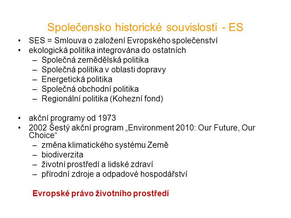 Společensko historické souvislosti - ES SES = Smlouva o založení Evropského společenství ekologická politika integrována do ostatních –Společná zemědě