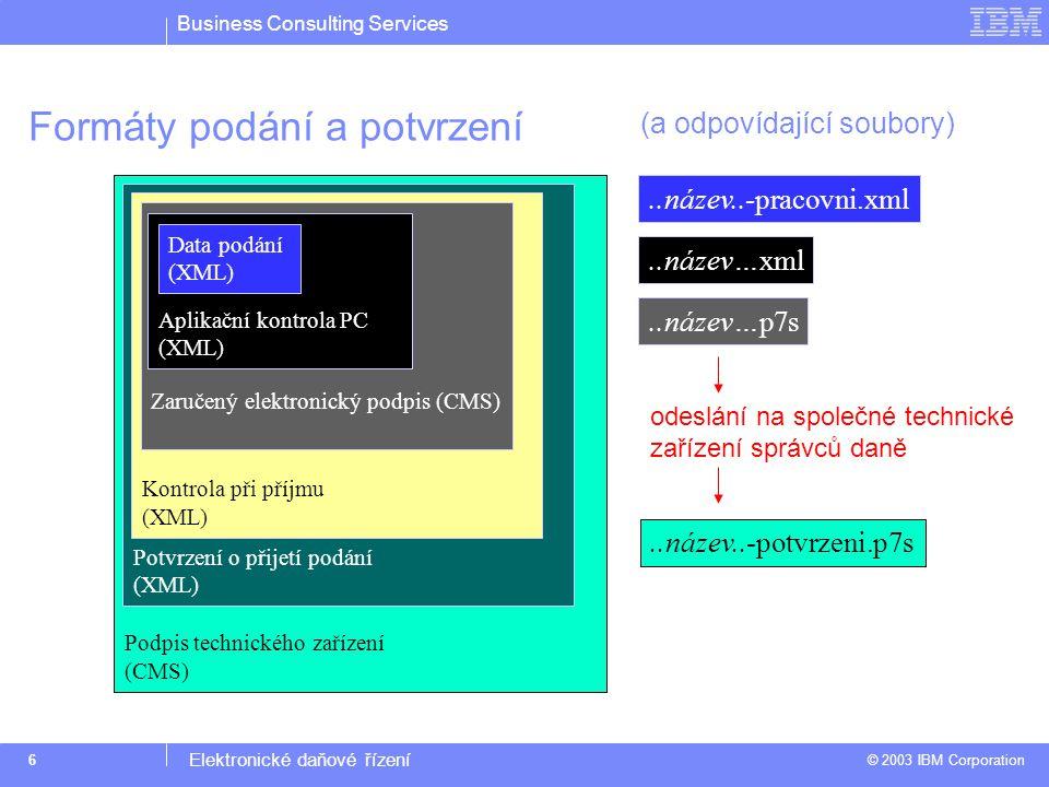 Business Consulting Services © 2003 IBM Corporation Elektronické daňové řízení 6 Podpis technického zařízení (CMS) Potvrzení o přijetí podání (XML) Kontrola při příjmu (XML) Zaručený elektronický podpis (CMS) Aplikační kontrola PC (XML) Formáty podání a potvrzení Data podání (XML)..název..-pracovni.xml..název…xml..název…p7s..název..-potvrzeni.p7s odeslání na společné technické zařízení správců daně (a odpovídající soubory)