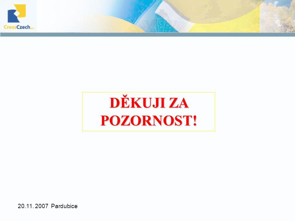 20.11. 2007 Pardubice DĚKUJI ZA POZORNOST!