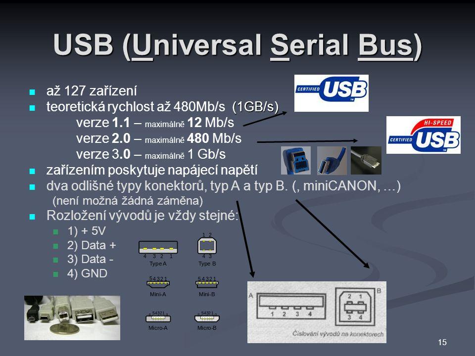 USB (Universal Serial Bus) až 127 zařízení (1GB/s) teoretická rychlost až 480Mb/s (1GB/s) verze 1.1 – maximálně 12 Mb/s verze 2.0 – maximálně 480 Mb/s verze 3.0 – maximálně 1 Gb/s zařízením poskytuje napájecí napětí dva odlišné typy konektorů, typ A a typ B.