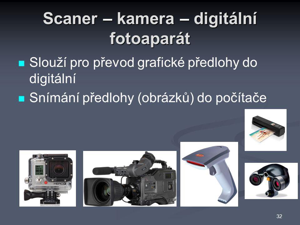 Scaner – kamera – digitální fotoaparát Slouží pro převod grafické předlohy do digitální Snímání předlohy (obrázků) do počítače 32
