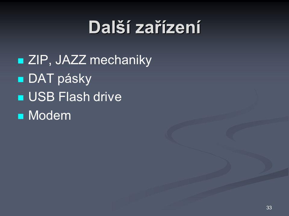 Další zařízení ZIP, JAZZ mechaniky DAT pásky USB Flash drive Modem 33