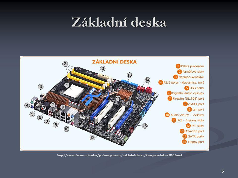 Procesor (mikroprocesor) tvoří srdce a mozek celého počítače ovlivňuje výkon celého počítače 66 – 800 MHz)Základní frekvence základní deskyFSB 5 – 26Koeficient upravující základní frekvenciNásobič 3,3 – 1,2 VNapájení obvodů procesoruNapětí 1 – 4096 MB (16 000 MB) Velikost paměti, kterou je procesor schopen adresovat (používat) Velikost adresovatelné paměti 0 – 4096 KB Kapacita rychlé interní cache paměti integrované přímo na čipu procesoru Interní cache paměť 16 – 64 Maximální počet bitů, které je možné zpracovat během jediné operace Šířka slova 4,77 MHz – – 4,2 GHz Počet operací provedených za jednu sekundu Rychlost RozsahPopisParametr 7