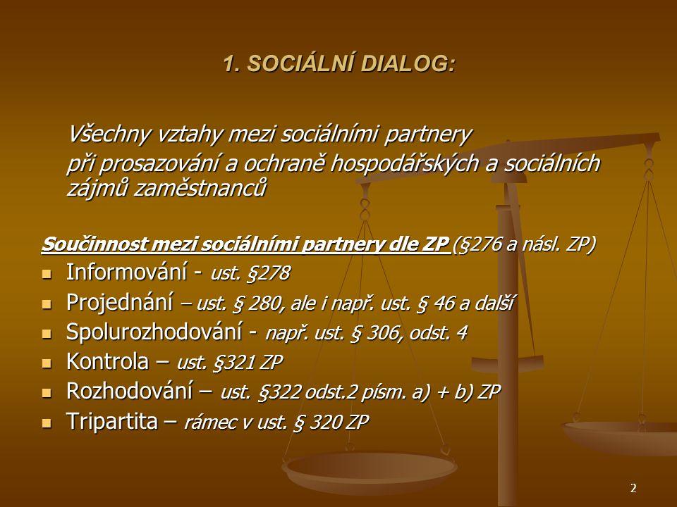 2 1. SOCIÁLNÍ DIALOG: Všechny vztahy mezi sociálními partnery při prosazování a ochraně hospodářských a sociálních zájmů zaměstnanců Součinnost mezi s
